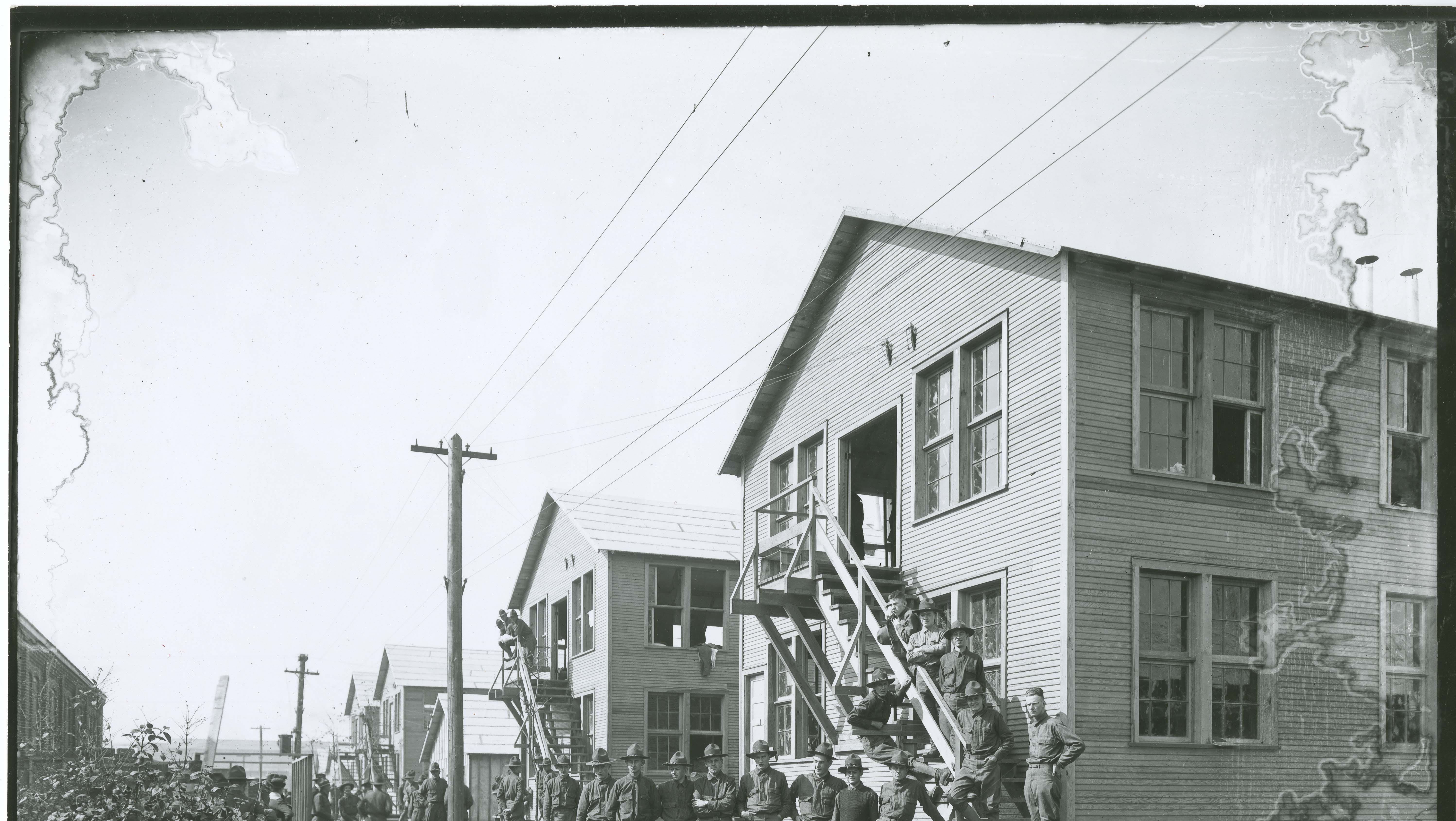 During World War I, barracks were built at Purdue University to train soldiers. The barracks were near where Knoy Hall is today.