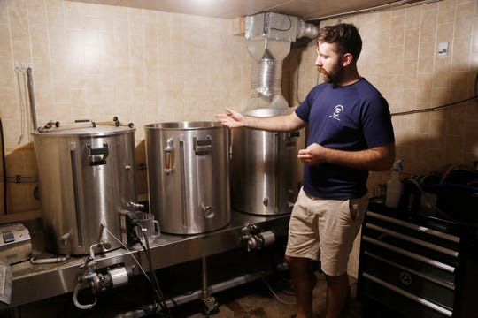 Co-owner David Thieme shows where he brews the beers for Thieme & Wagner Brewery Wednesday, October 10, 2018, at 652 Main Street in Lafayette.