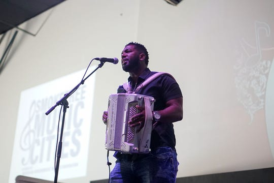 Zydeco musician Lil Nate performs for delegates Thursday at the Music Cities Convention in downtown Lafayette.
