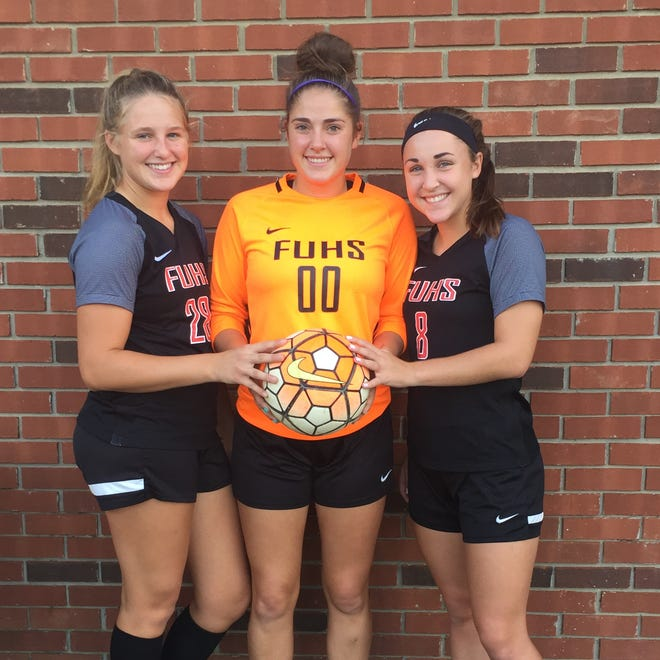 Three of the Fairfield Union soccer seniors - Emma Thomas, Hannah Burside and Taylor Davis - will the lead the way for the Falcons into the Division II southeast tournament as the No. 1 seed.