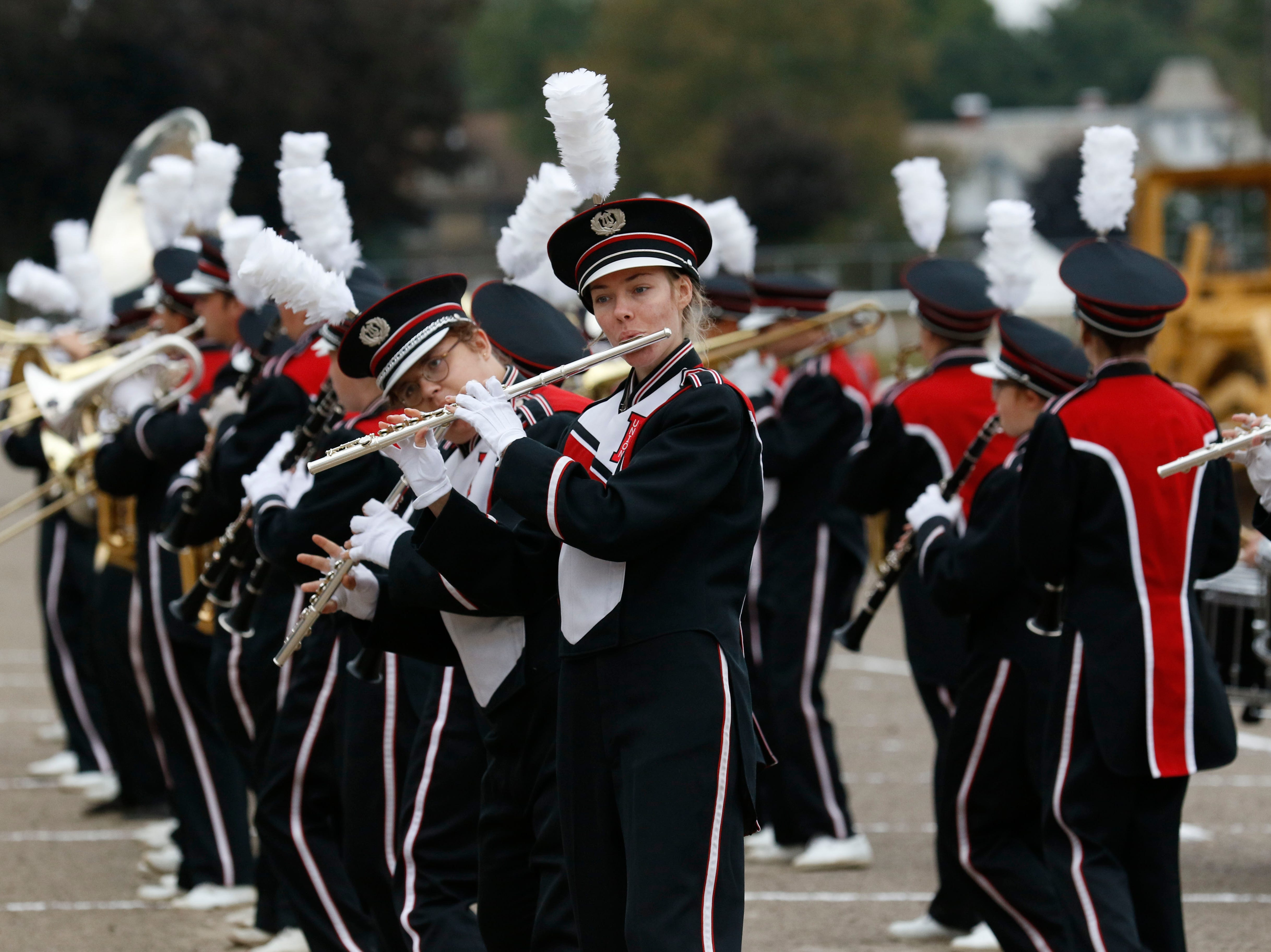 The Fairfield Union High School Marching Falcons perform Thursday morning, Oct. 11, 2018, during the Parade of Bands at the Fairfield County Fair in Lancaster. Bands from eight high schools in the county performed to a crowded grandstand of spectators.