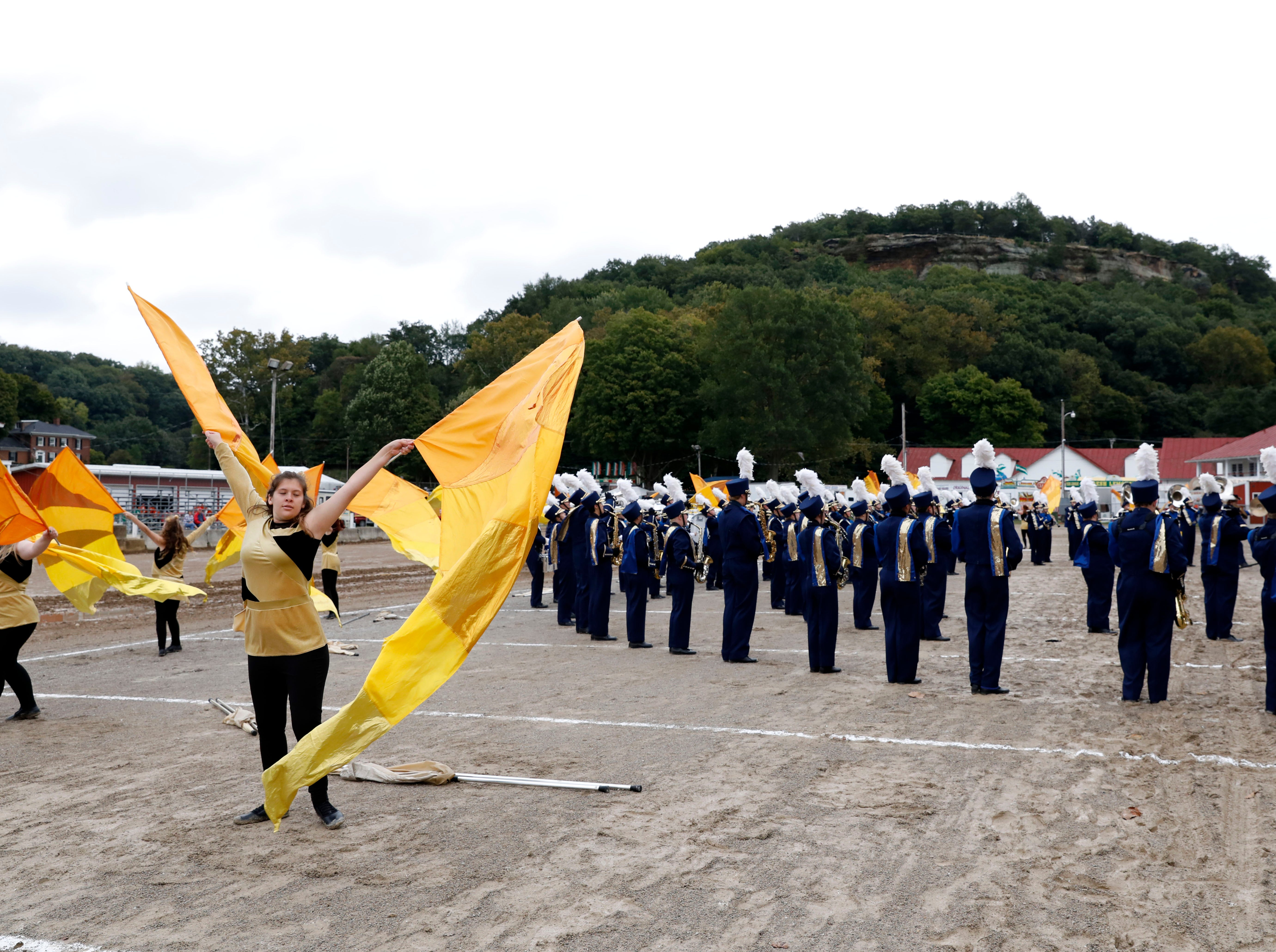 The Lancaster High School Band of Gold performs Thursday morning, Oct. 11, 2018, during the Parade of Bands at the Fairfield County Fair in Lancaster. Bands from eight high schools in the county performed to a crowded grandstand of spectators.