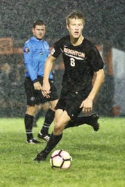 Brighton's Charlie Sharp scored three goals in a 4-0 victory over Dearborn Fordson in the KLAA championship soccer game on Wednesday, Oct. 10, 2018.