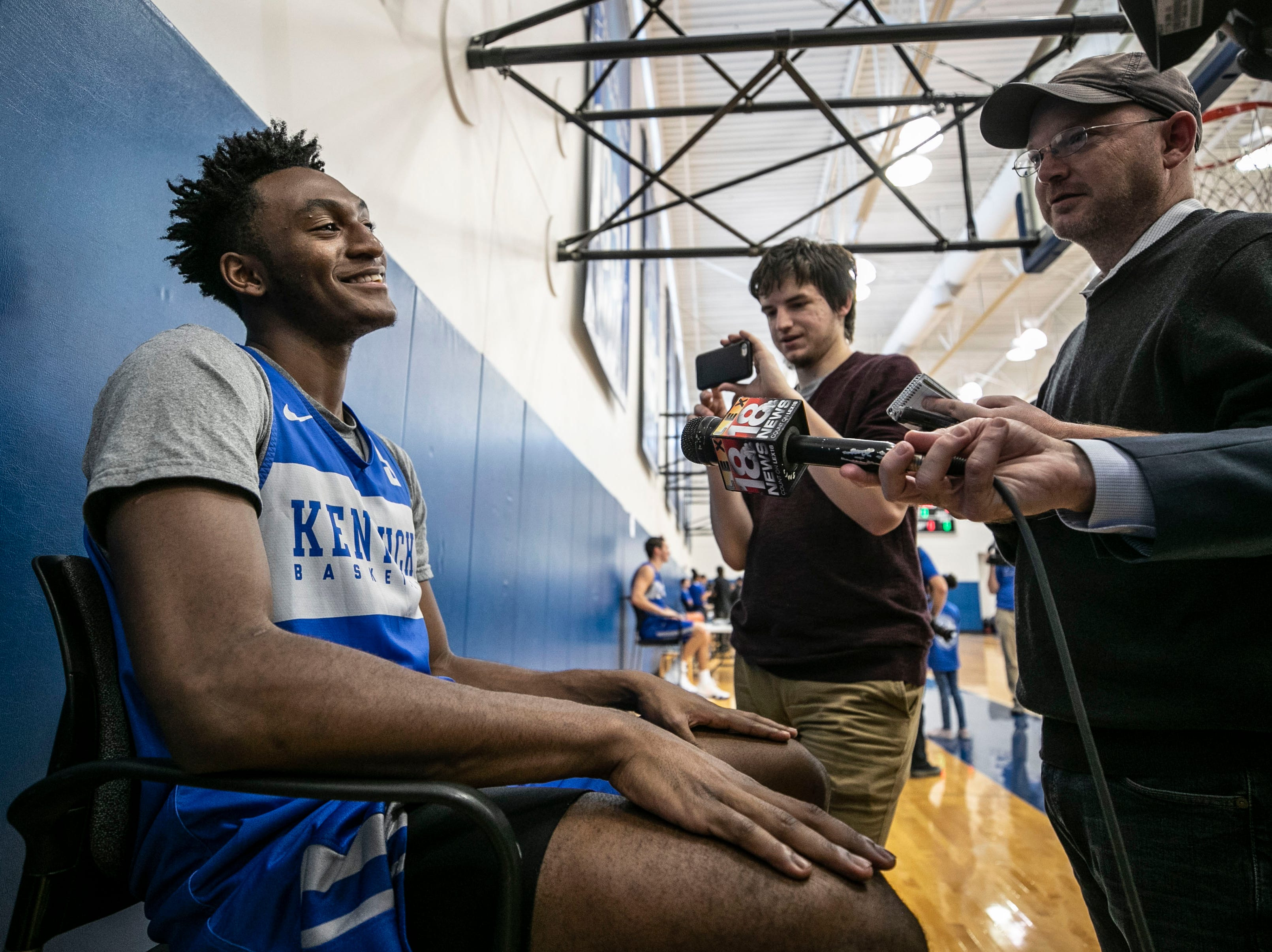 UK player Immanuel Quickley laughs during Media Day Thursday afternoon at the Joe Kraft Center.