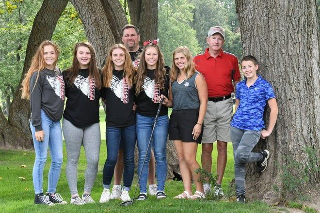 Shelby's state title-hunting Whippets, from left, Nicole Jones, Maci Westmeister, Gillian Stumbo, head coach Brad Ruminski, Amanda Ruminski, Lexi Uplinger, assistant coach Jim Earnshaw and Julia Gutchall.