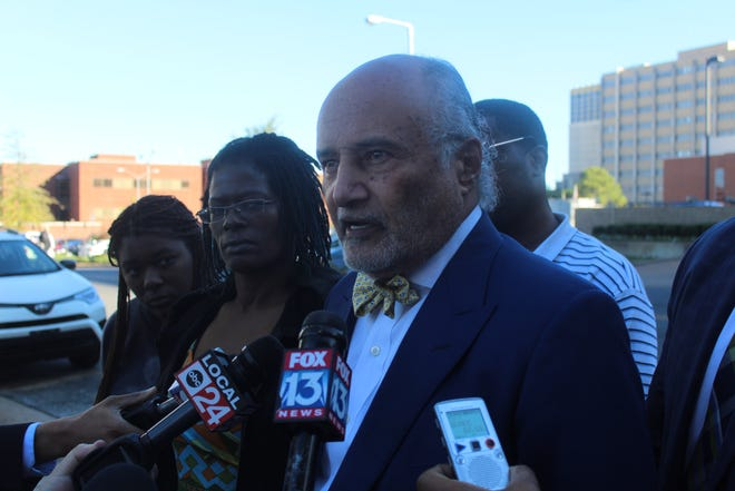 Billy Murphy, a Baltimore lawyer representing the family of Martavious Banks speaks during a press conference outside of the Regional One Hospital.
