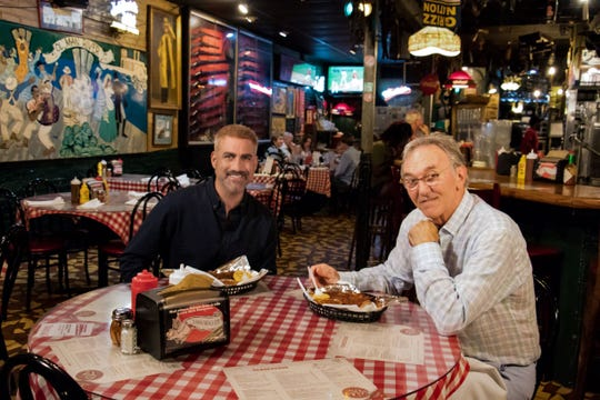 When filming 'State Plate,' host Taylor Hicks stopped by Charlie Vergos Rendezvous for a bite of Memphis' famous dry ribs. He is pictured with co-owner John Vergos.