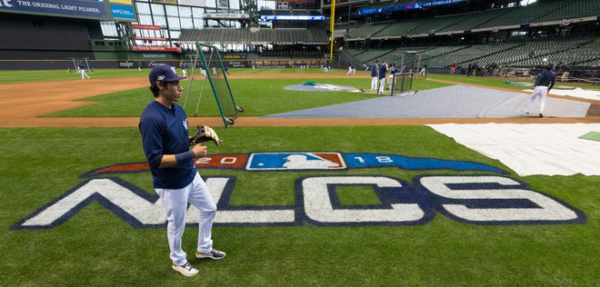Milwaukee Brewers right fielder Christian Yelich is shown during workouts Thursday, October 11, 2018 at Miller Park in Milwaukee, Wis. The Milwaukee Brewers and Los Angeles Dodgers begin their best of seven National League Championship Series on Friday.