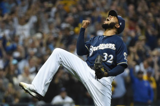 Jeremy Jeffress puts the exclamation mark on the Game 2 victory over the Rockies in the NLDS at Miller Park.