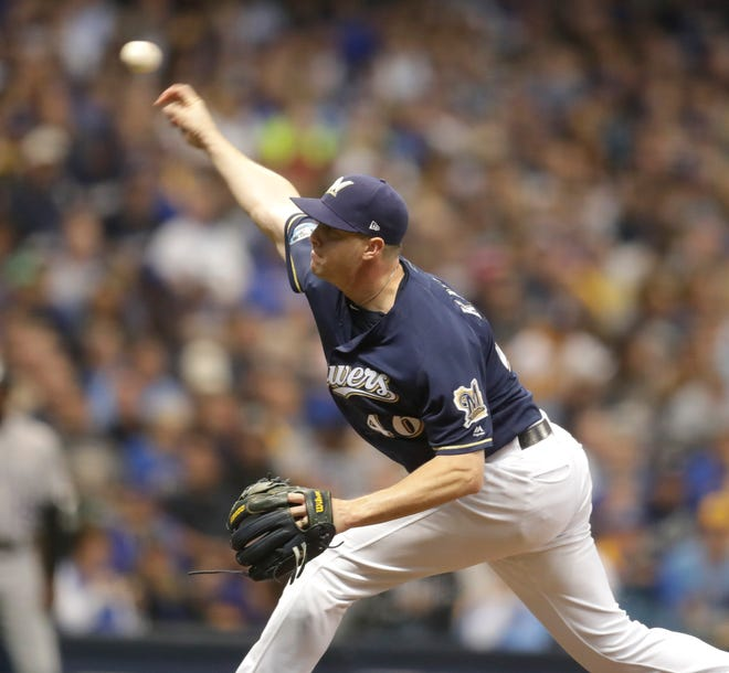 Milwaukee Brewers relief pitcher Corey Knebel (46) provides relief in the 6th inning during game two of the Milwaukee Brewers vs. Colorado Rockies National league Division Series  Friday, October 5, 2018 at Miller Park, Milwaukee Wisconsin.  Milwaukee Journal Sentinel Photo by Rick Wood. RWOOD@JOURNALSENTINEL.COM ORG XMIT: 20096840C
