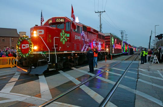 The Canadian Pacific Holiday Train made a stop at the Harwood Ave. crossing, in Wauwatosa on Dec. 3, 2017.