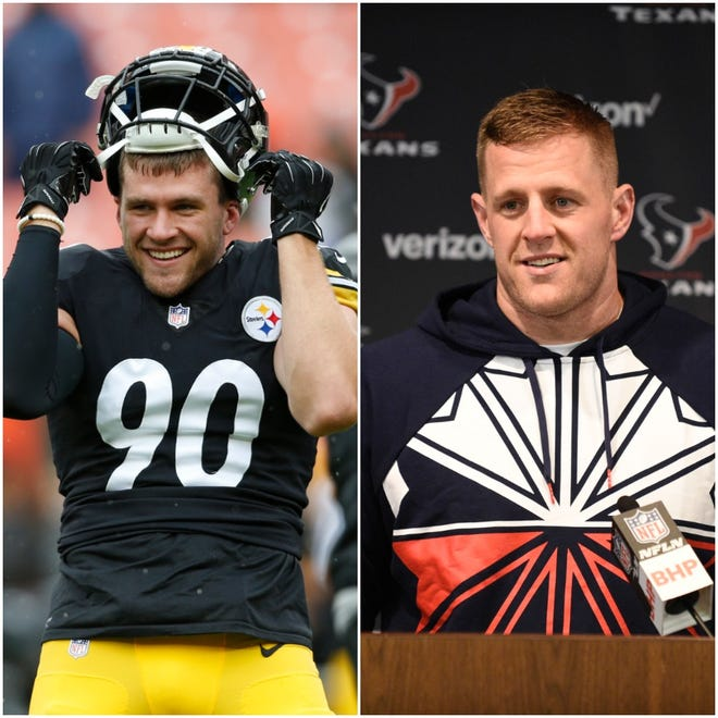 Through five weeks of the NFL season, TJ Watt (left) and JJ Watt are atop the leaderboard in sacks. The two are tied with Cincinnati Bengals defensive tackle Geno Atkins with 6.0