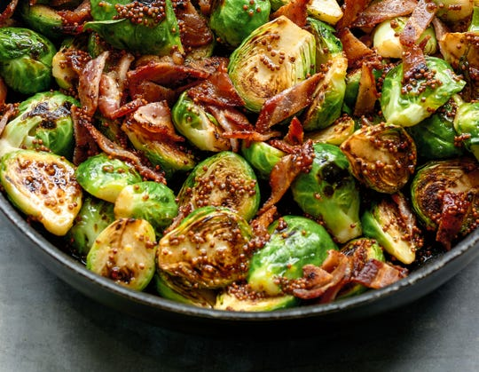 "Brussels sprouts, bacon and mustard combine deliciously in this dish from ""Everyday Cooking."""