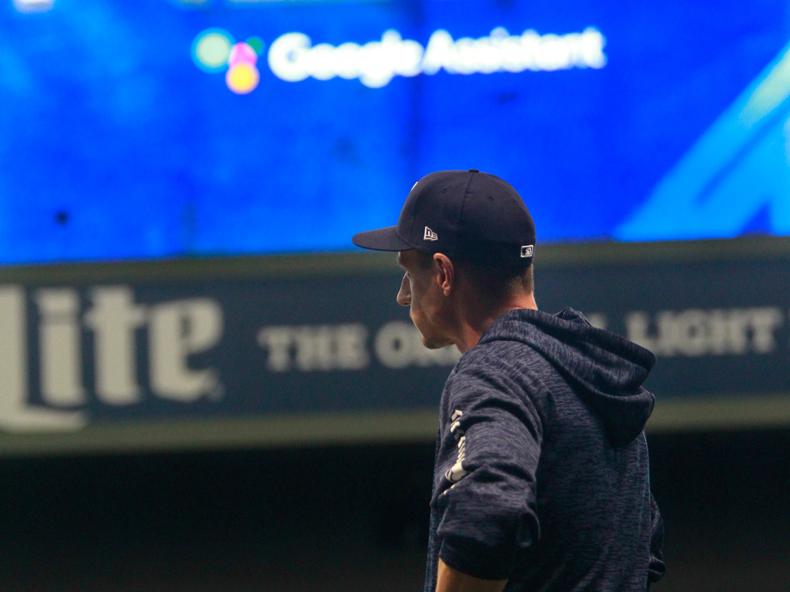 Brewers manager Craig Counsell watches his team practice on Wednesday at Miller Park.