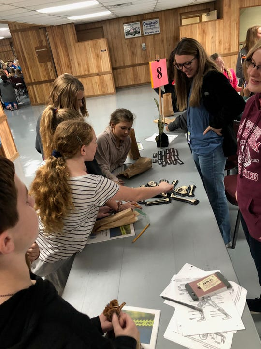 """Sixth-grade students work on decoding the 'bone scramble"""" at the annual CSI event Thursday at the Baxter County Fairgrounds."""