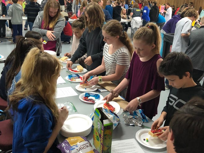 Sixth-grade students from Pinkston Middle School got creative using food to explore layers of skin at the annual CSI event on Thursday.