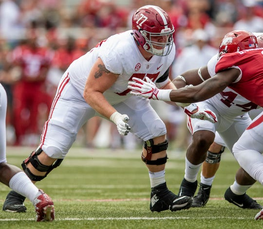 Alabama offensive lineman Matt Womack (77) during second half action against Arkansas in Fayetteville, Ark., on Saturday October 6, 2018.