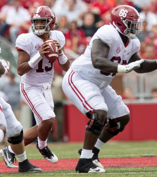Alabama quarterback Tua Tagovailoa (13) passes against Arkansas. (Photo   Mickey Welsh) b3af399eb