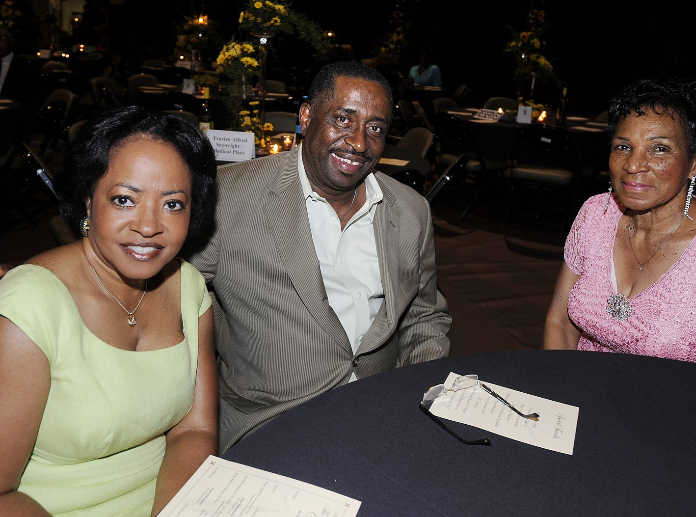 Verlyn Calhoun, from left, Greg Calhoun and Margurite Foley enjoy The Gathering at the ASU Acadome at Alabama State University in Montgomery, Ala. on Saturday July 12, 2008.(Montgomery Advertiser, Mickey Welsh)