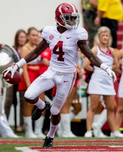 Alabama wide receiver Jerry Jeudy (4) scores against Arkansas during first half action in Fayetteville, Ark., on Saturday October 6, 2018.