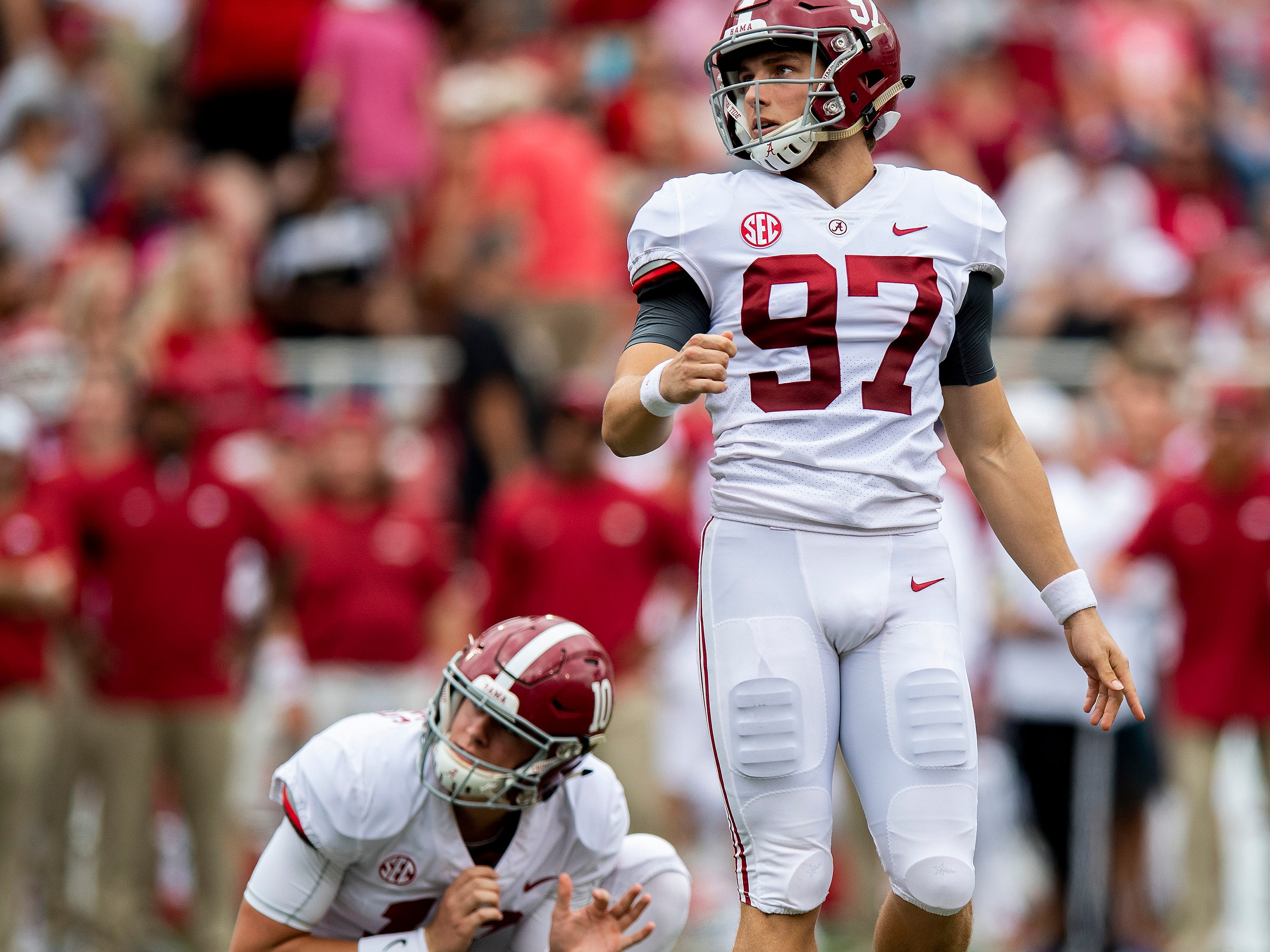 Alabama kicker Joseph Bulovas (97) misses an extra point against Arkansas during first half action in Fayetteville, Ark., on Saturday October 6, 2018.