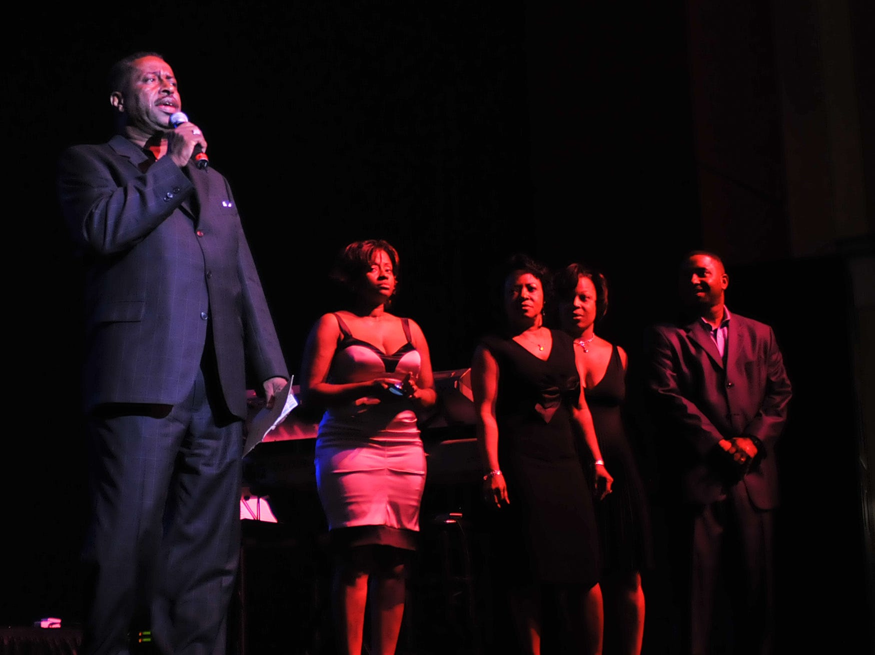 Greg Calhoun speaks to the crowd about his foundation before the Smokey Robinson concert at the Montgomery Performing Arts Centre on Saturday, July 26, 2008. (Montgomery Advertiser, Amanda Sowards)