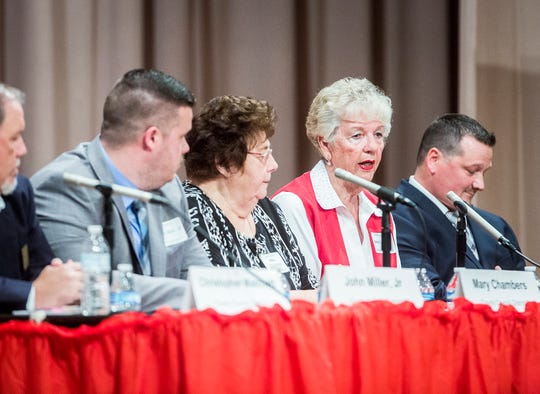 County council candidates Christopher Matchett (from left), John Miller Jr., Mary Chambers, Jane Lasater and Ryan Webb participate in a forum hosted by the League of Women Voters at Northside Middle School Wednesday evening.