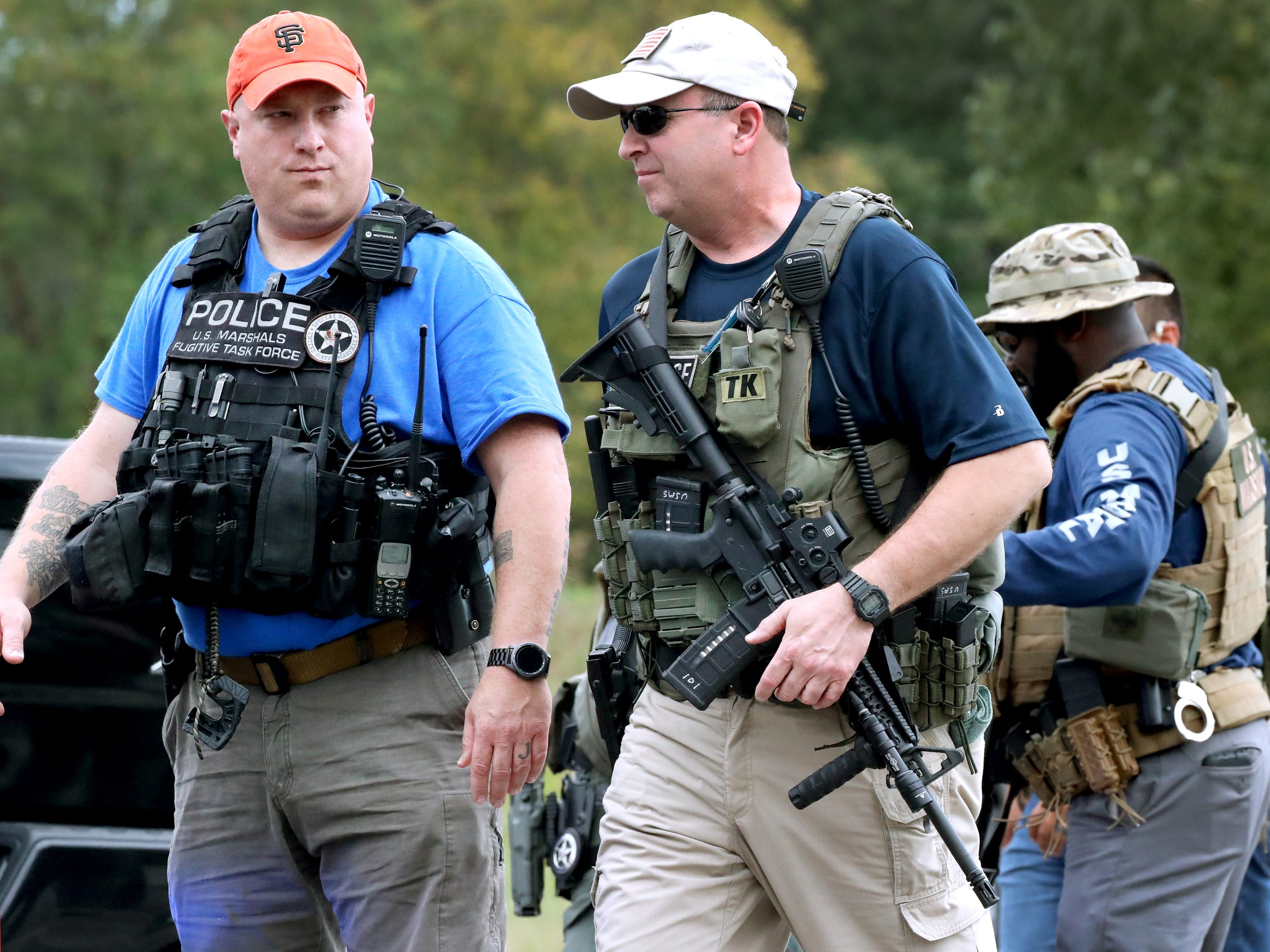 Rutherford County Sheriff's deputies, TBI, The US Marshalls, Murfreesboro Police, Smyrna Police and other agencies searched for two escaped inmates near Old Nashville Highway, and Baker Road Wednesday, Oct. 10, 2018
