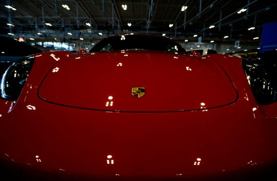 A Porsche 718 Cayman GTS at the Nashville International Car Show on Thursday, October 11, 2018, in Nashville, Tenn.
