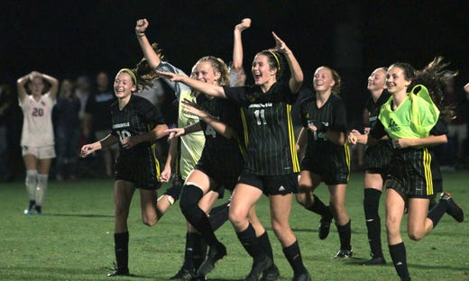 Hendersonville celebrates after beating Station Camp 2-1 in the District 10-AAA final on Wednesday, October 10, 2018.