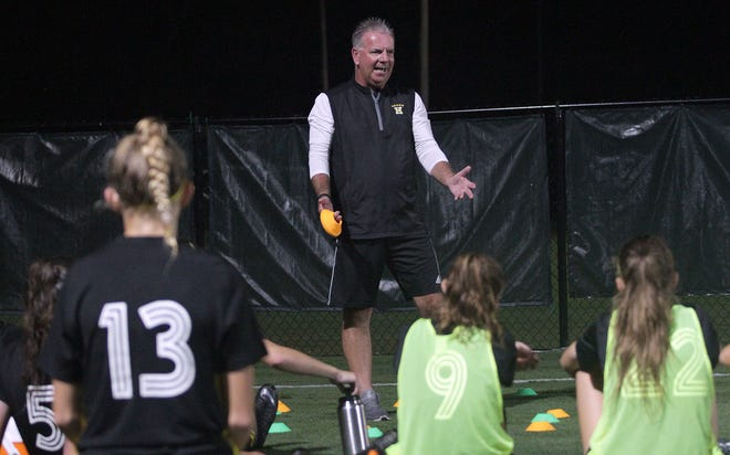 Hendersonville coach Russ Plummer talks with his team as they play Station Camp in the District Final on Wednesday, October 10, 2018.