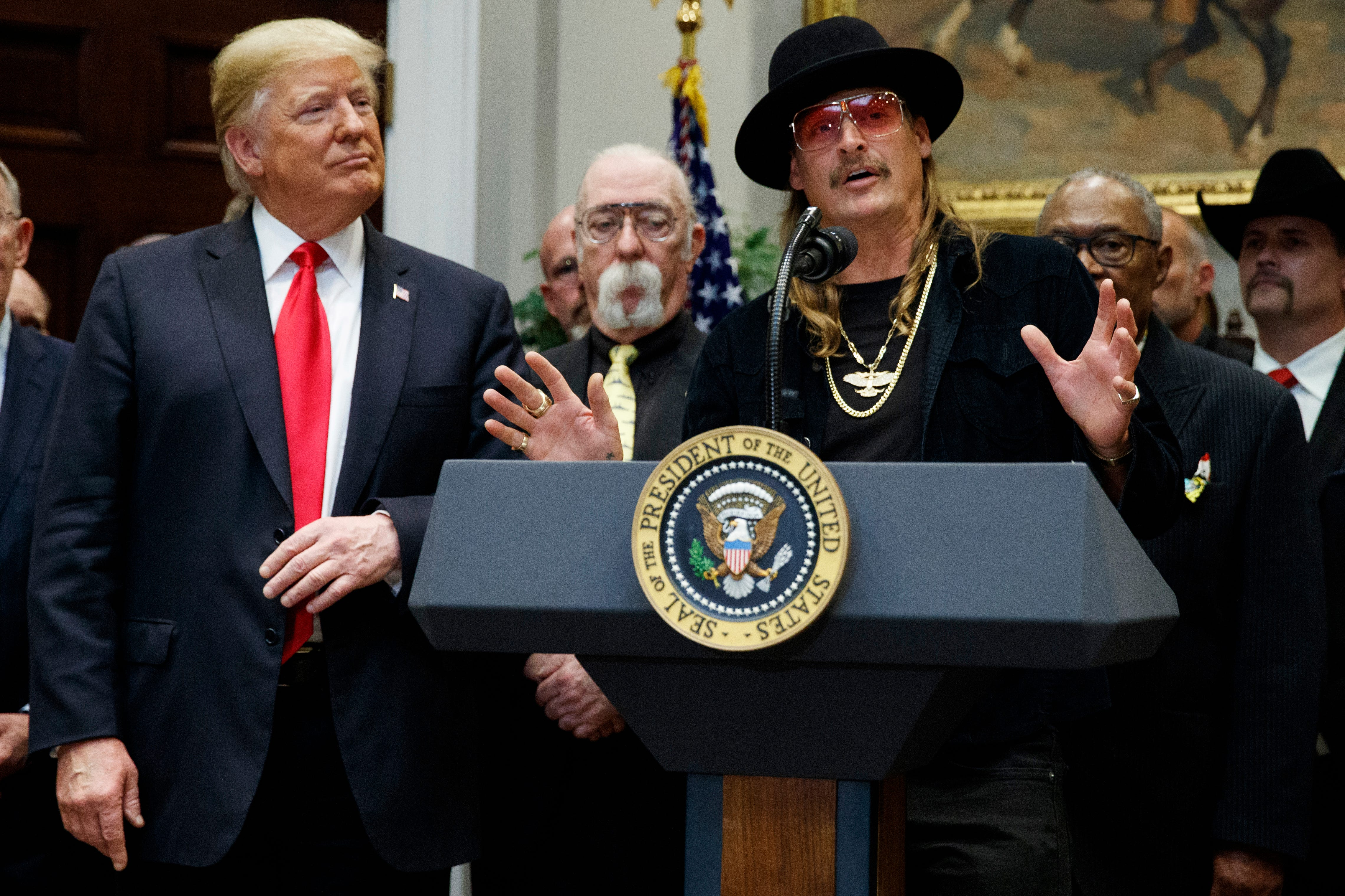 Trump golfs with Kid Rock in Florida, one day after Mueller finishes Russia probe