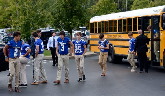 Brentwood High School football players arrive for the funeral of teammate Lucas Davis at the Brentwood Hills Church of Christ on Thursday, October 11, 2018, in Nashville, Tenn.