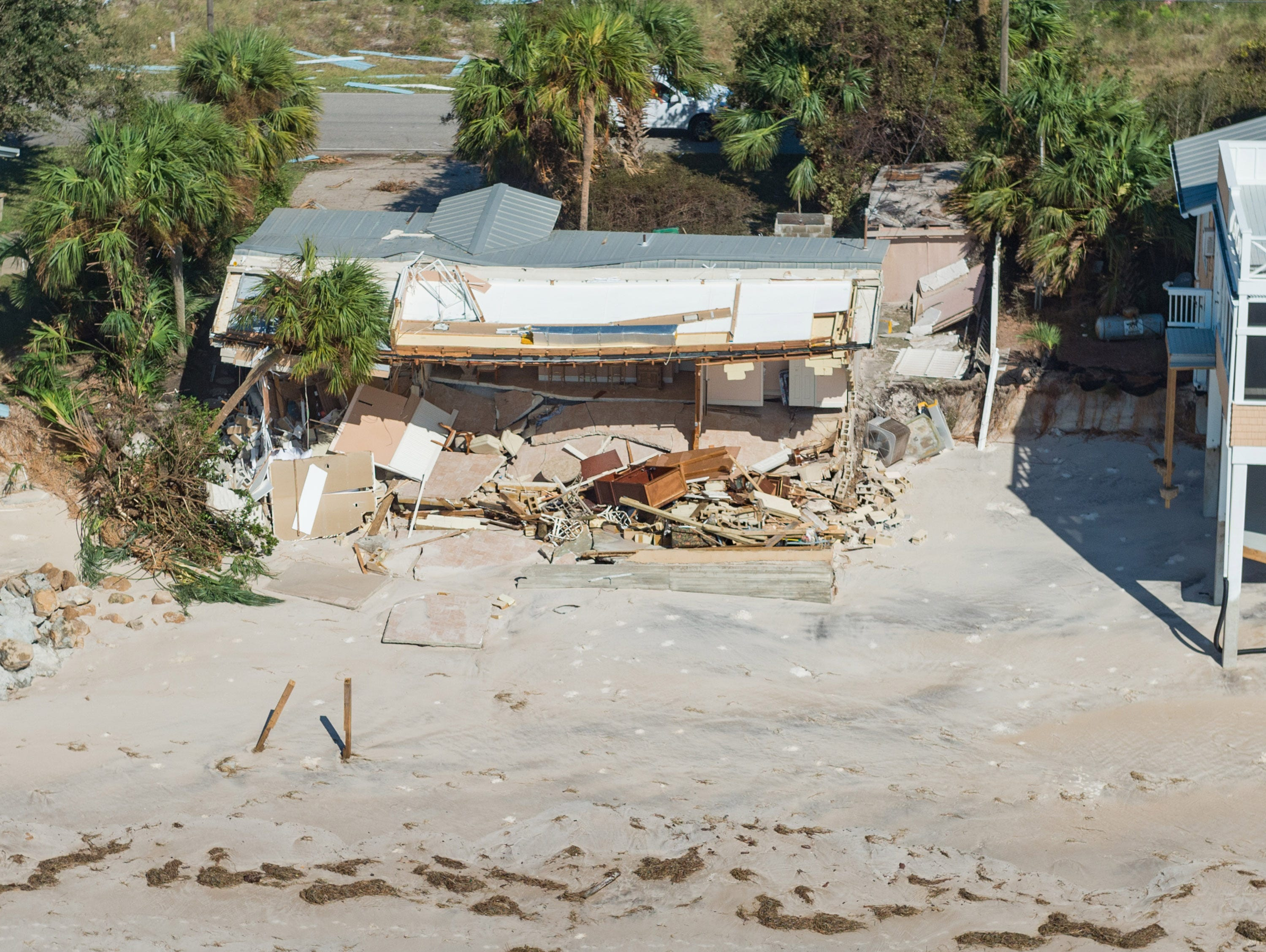 Oct 11, 2018; St Theresa Beach, FL, USA; Aerial photos of the aftermath of Hurricane Michael on St Theresa Beach. Mandatory Credit: Kinfay Moroti/The News-Press
