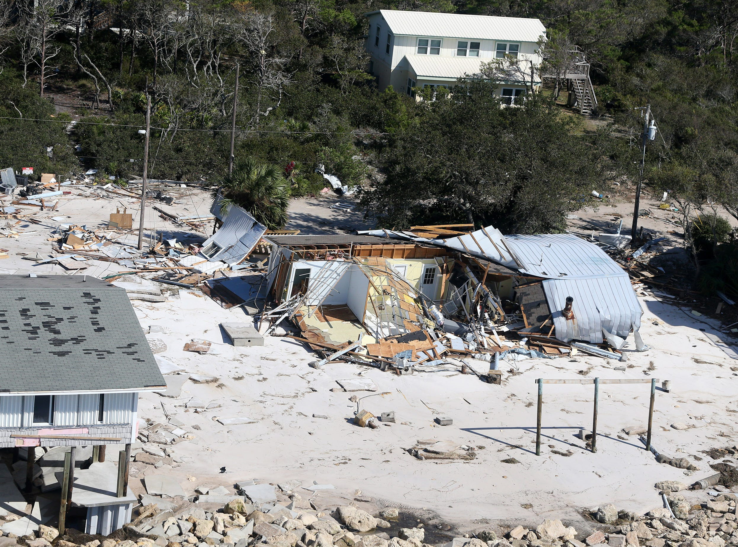 Oct 11, 2018; Alligator Point, FL, USA; Hurricane Michael damaged several homes on Dog Island in Franklin County, Florida. Mandatory Credit: Kinfay Moroti/The News-Press