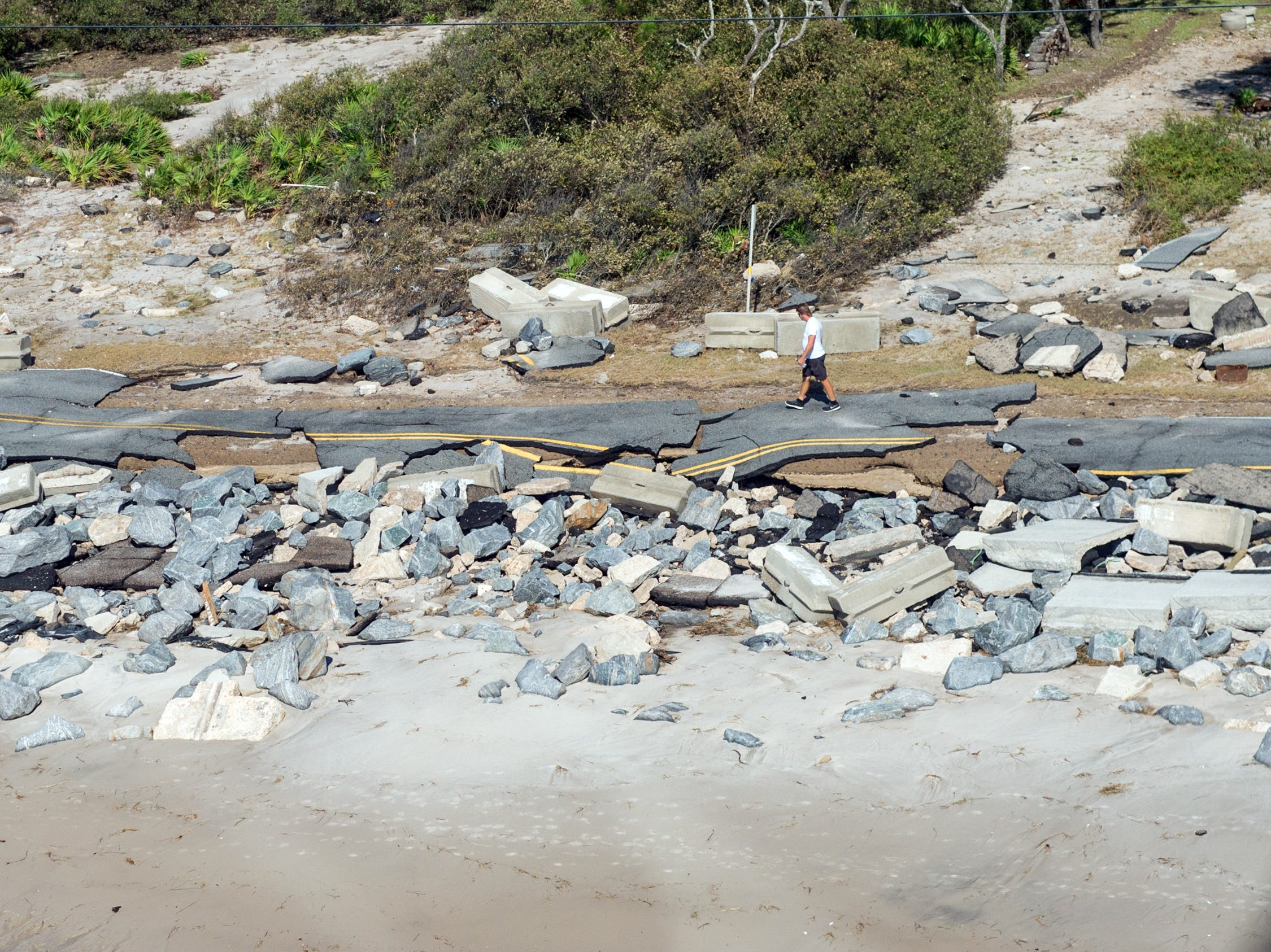 Oct 11, 2018; St Theresa Beach, FL, USA; Aerial photos of the roadway destroyed by  Hurricane Michael on St Theresa Beach. . Mandatory Credit: Kinfay Moroti/The News-Press