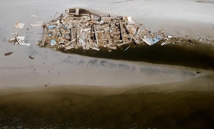 Oct 11, 2018; Dog Island, FL, USA; Hurricane Michael damaged several homes on Dog Island in Franklin County, Florida. Mandatory Credit: Kinfay Moroti/The News-Press