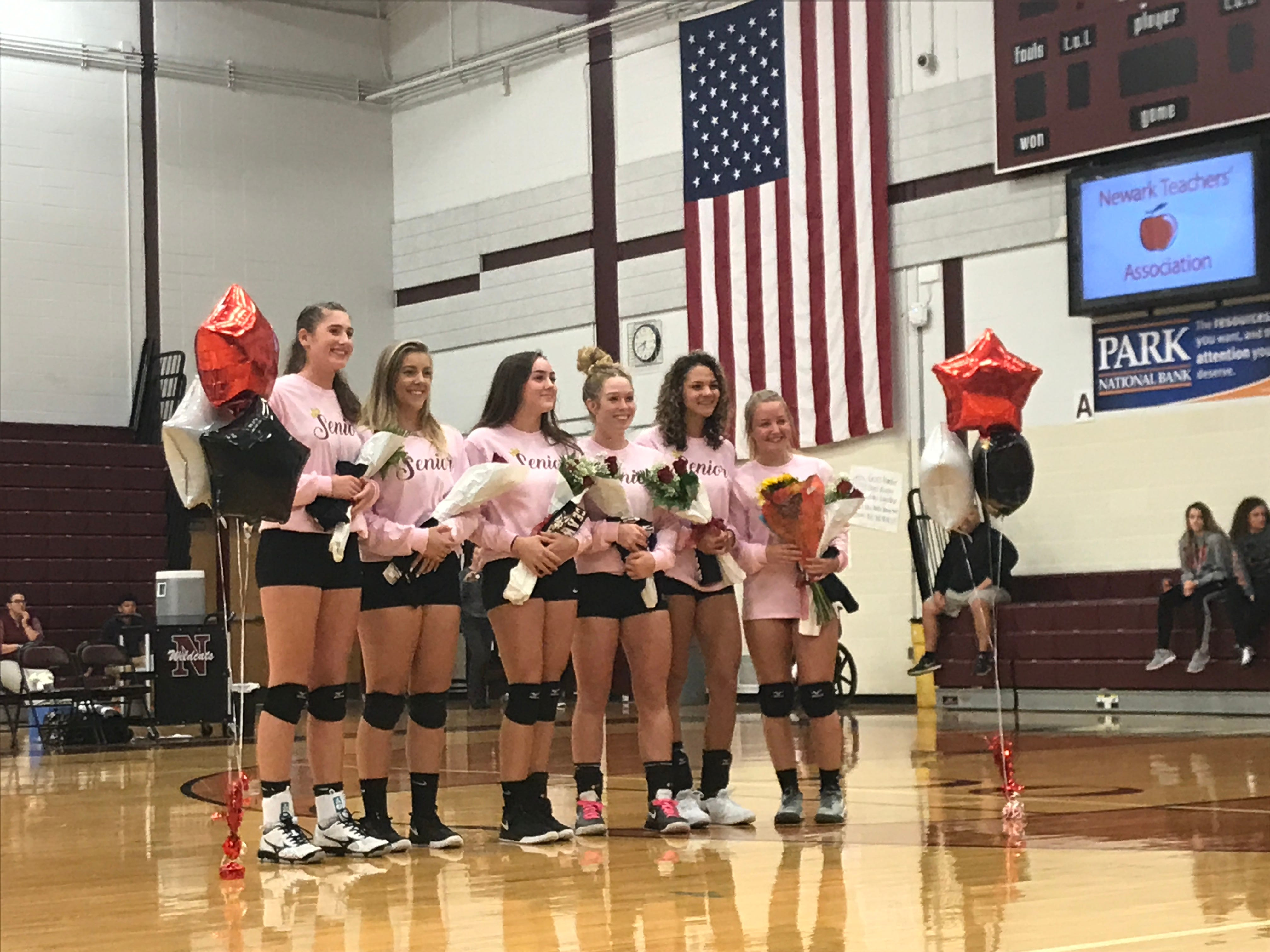 Newark honored its six seniors before Wednesday's match against Canal Winchester.