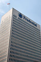 The headquarters building of Prudential Financial Inc. stands in Newark, N.J.