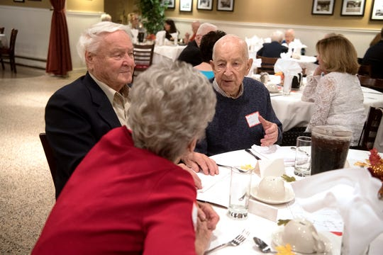 Clifton High School class of 1948 celebrated their 70th class reunion at Mario's Restaurant in Clifton on Thursday, October 11, 2018. CHS graduates Nada Stoltz Boettcher, Bob Boettcher and Andy Sventy at their reunion. Bob and Andy have been friends since the first grade.