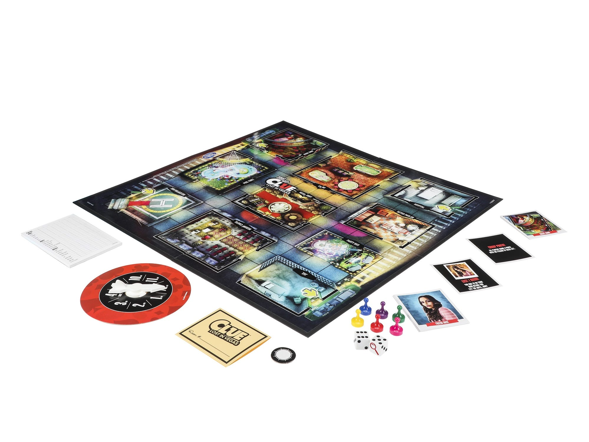 Clue: What Happened Last Night? Lost in Vegas includes game board, six pawns, 30 cards, hotel key sleeve, clock spinner, notepad, dice, and game rules.