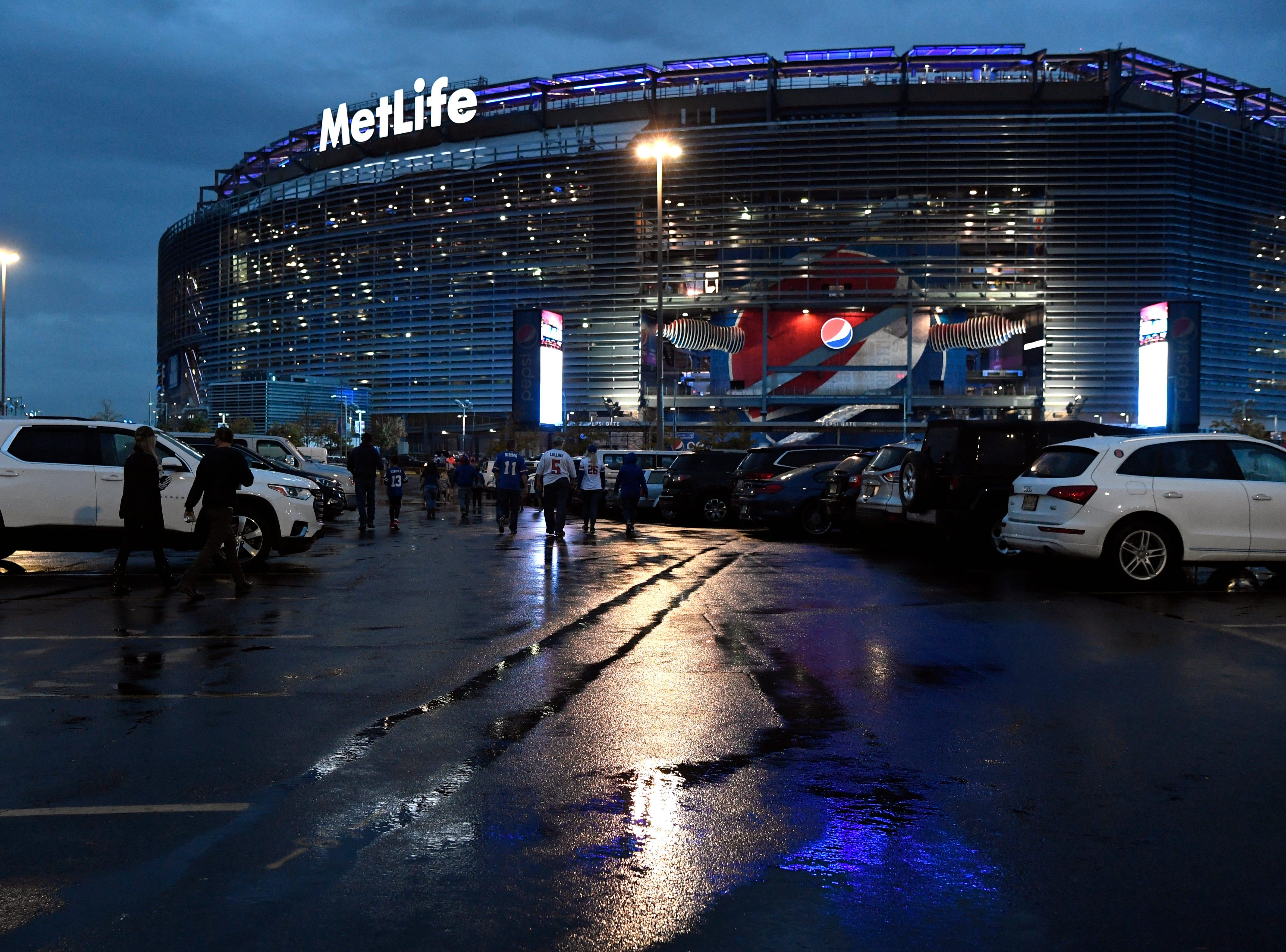 A rainy MetLife Stadium before the New York Giants face the Philadelphia Eagles on Thursday, Oct. 11, 2018.