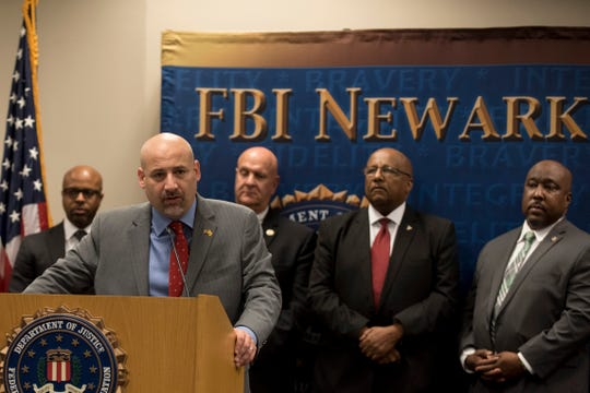 US Attorney Craig Carpenito speaks during a press conference announcing the addition of Lamont Stephenson to the FBI Ten Most Wanted List for the suspected murder of Olga DeJesus in 2014. Shown at FBI Newark headquarters in Newark on Thursday October 11, 2018.