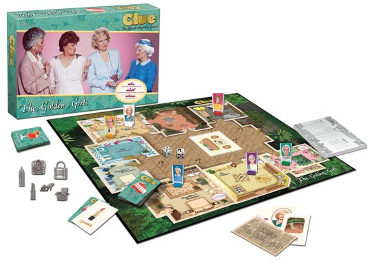 Clue: The Golden Girls features a custom-illustrated game board, where players attempt to solve the crime of who ate the last piece cheesecake.