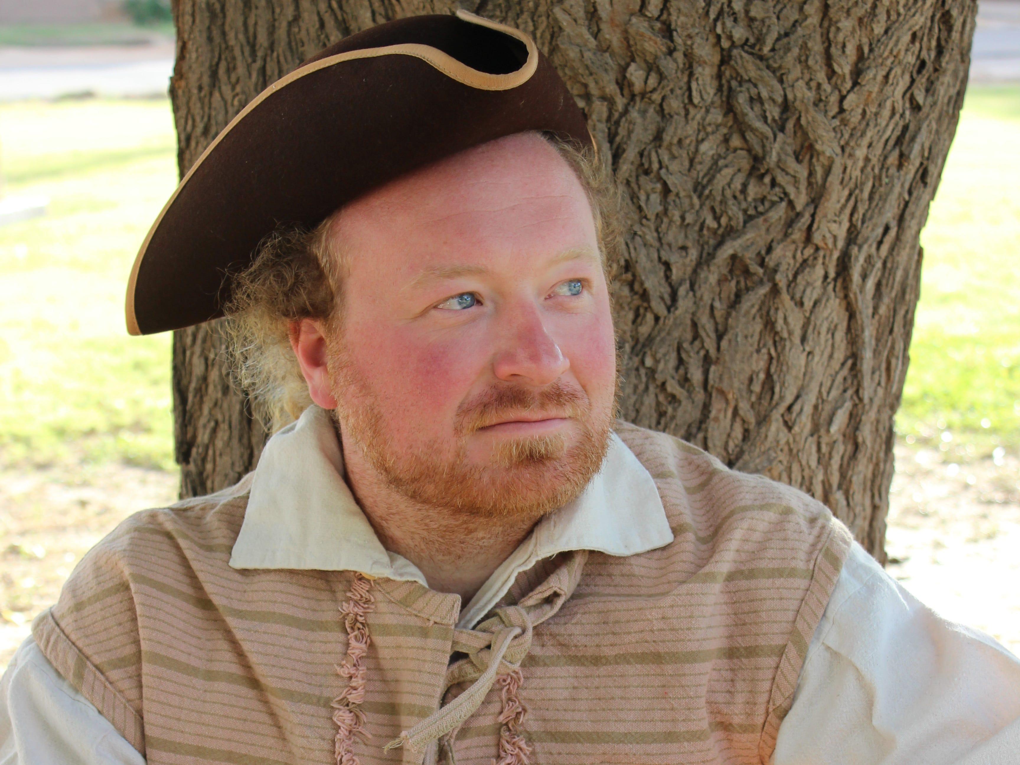 Re-enactor Bob Dusseldorf portrays German trader Bernardo Gruber.