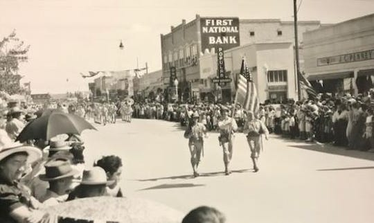 The 1944 Veterans Day Parade through downtown Las Cruces. The city's population that year was about 9,000.