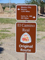 A sign at Fort Selden National Monument informs the distance traveled on El Camino Real.