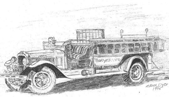A drawing of the Thayer Fire Department vehicle. Formed in 1948 it was the forerunner of today's Joel Volunteer Fire Department.