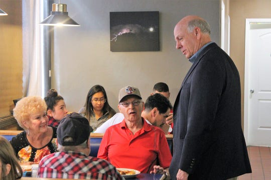 Pearce told patrons at the Waffle and Pancake Shoppe that jobs, education, and crime were concerns particular to the southeastern region of the state that he wanted to address.