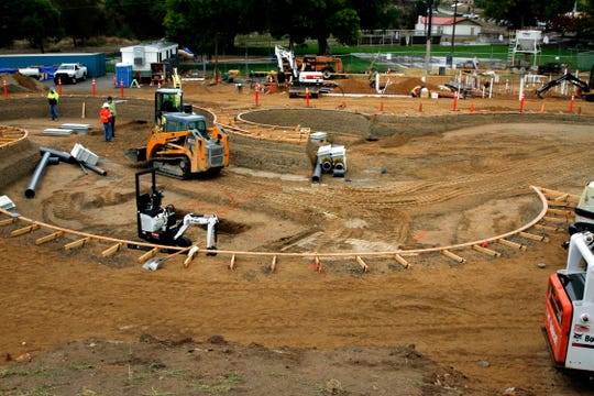 Construction of the new Brookside Bay Water Park continues Thursday at Brookside Park in Farmington.